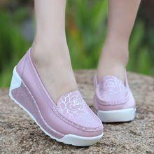 Verano 2016 de las mujeres zapatos de cuero genuino transpirable zapatos de swing plataforma zapatos femeninos zapatos de trabajo de enfermería(China (Mainland))