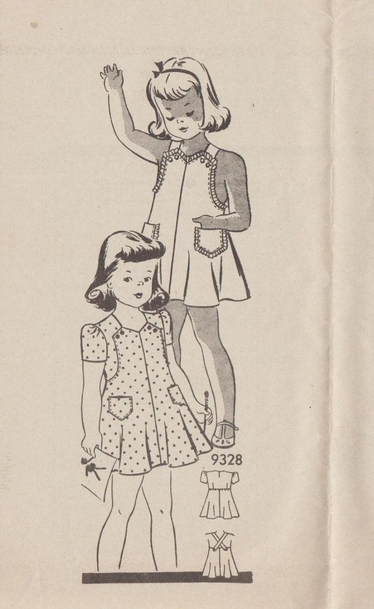Cartamodello annata ' 40 Mail Order / Marian Martin 9328 / Little Girls Dress Sundress Playsuit / bambino taglia 2 di studioGpatterns su Etsy https://www.etsy.com/it/listing/275000464/cartamodello-annata-40-mail-order-marian