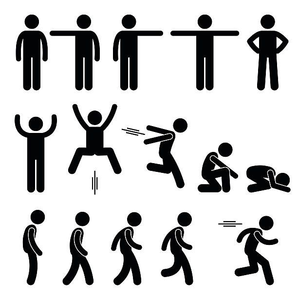A Set Of Human Pictogram Representing Basic Human Poses Such As Stick Figure Drawing Stick Figures Stick Men Drawings