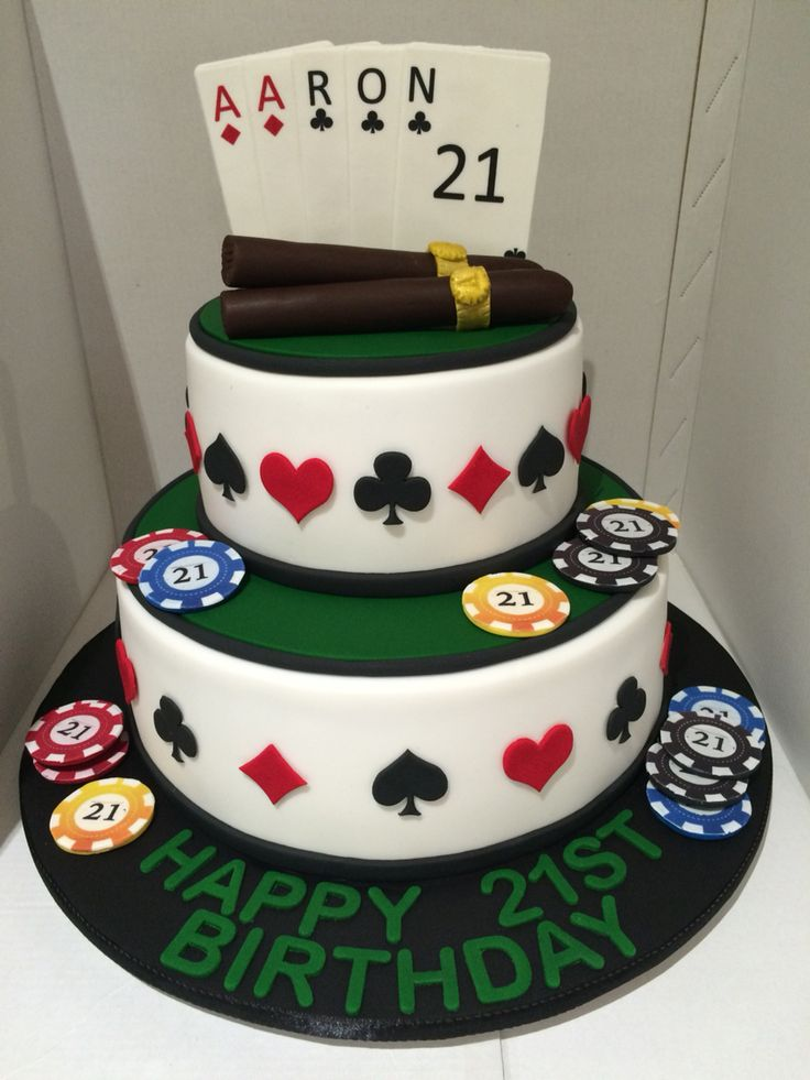 A 21st cake with playing cards, poker chips and chocolate cigars!