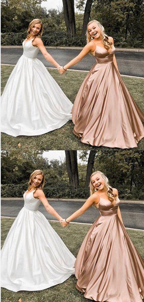 A Line V Neck Spaghetti Straps Rose Gold Satin Prom Dresses