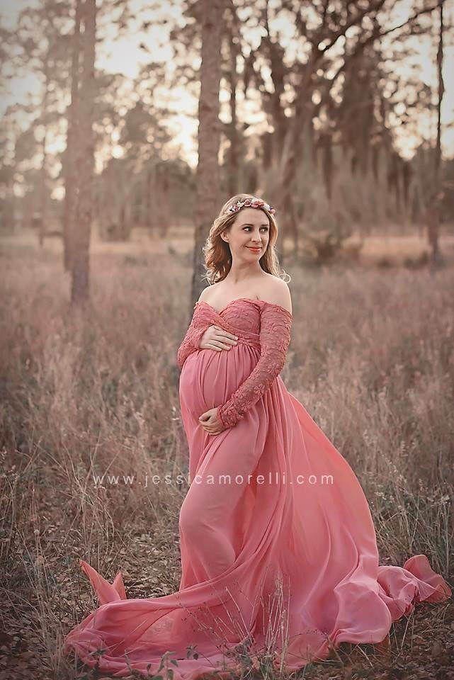 Arabella Dusty Rose Chiffon Maternity Gown Chiffon Dress