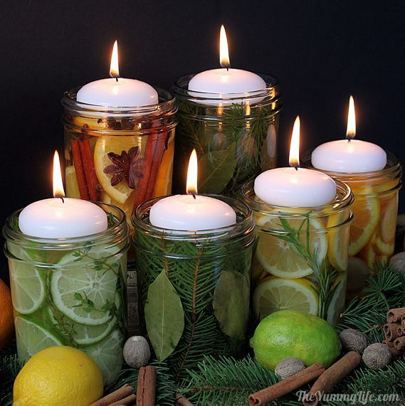 Natural Room Scent Jars for DIY Gifts and Centerpieces. These have been popular centerpieces/gifts for Thanksgiving and autumn weddings receptions. From TheYummyLife.com