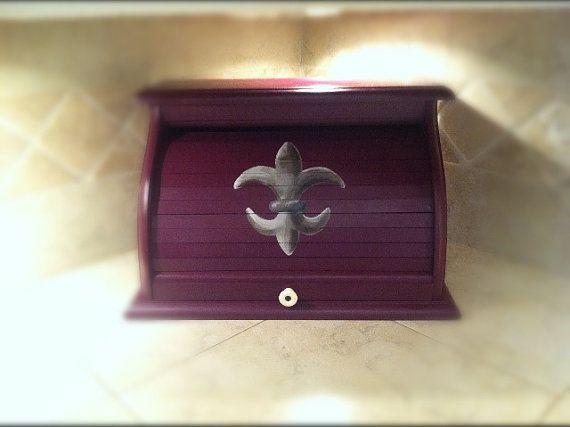 Fluer de lis Bread box in deep purple color and by artworksbycarol, $139.00