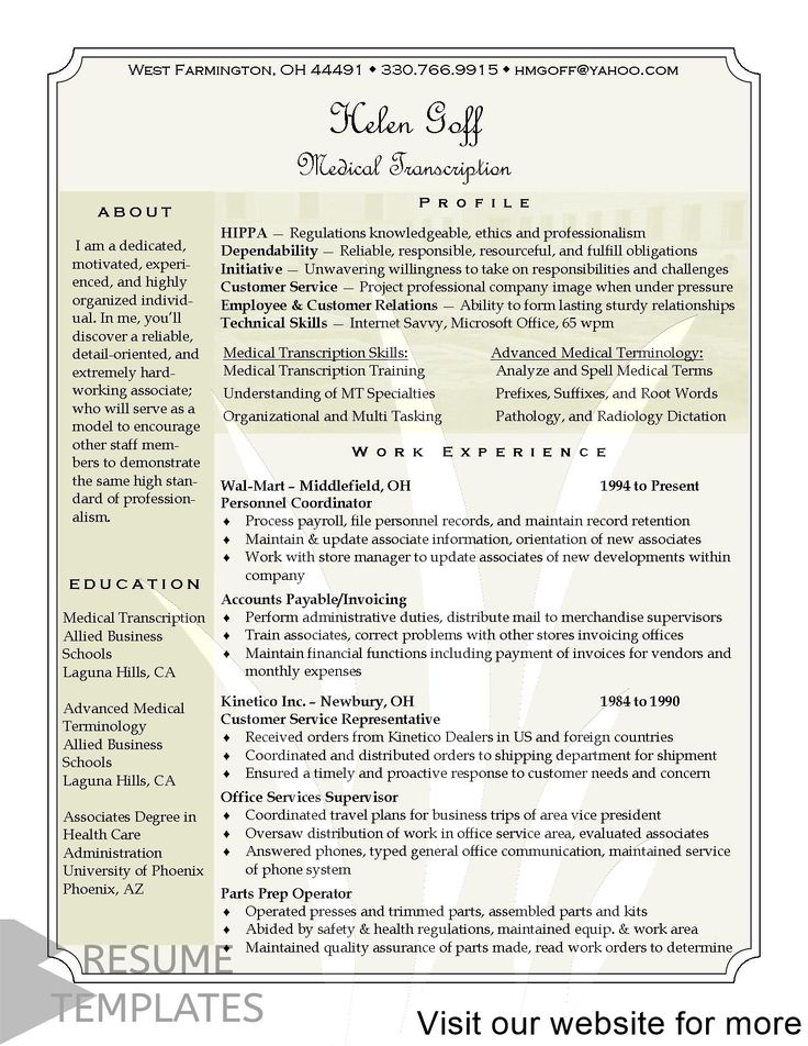 resume template docs Professional in 2020 Medical