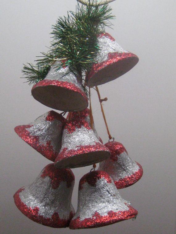 Vintage Paper Mache Foil Christmas Bells // Set of 8 by MyBarn