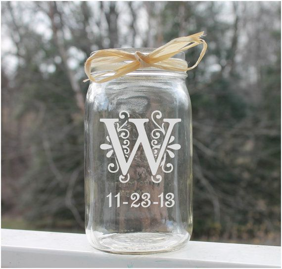 Etched Mason Jar Monogram with date. Here are some ideas for your mason jar, Add water and a floating candle, use a tea light or tea candle, fill with glass beads and flowers or Fill with sand & shells.   These personalized etched Jars are perfect for any occasion. Use as a sweet treat jar , tip jar, special day savings jar, Birthdays, treat jar for pets & more!  Wide Mouth by StoneEffectsMD, $14.75