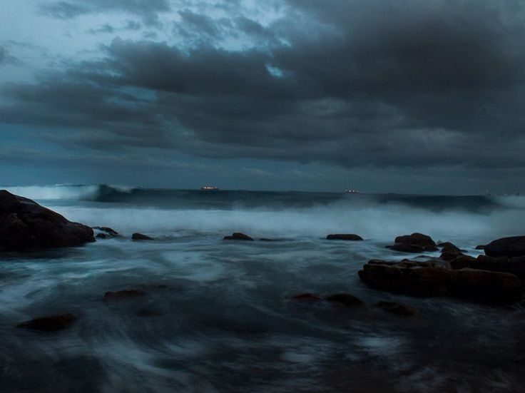 Picture of a stormy coastline in Durban, South Africa