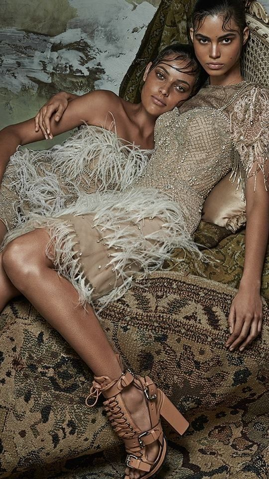 "Mariana Santana and Caroline Prates in ""Colombina Gótica"" for Vogue Brazil February 2014 - Photographer Zee Nunes"