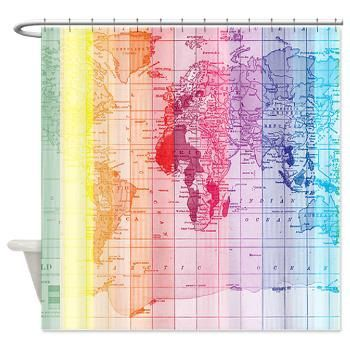 Rainbow Wrold Map Fabric Shower Curtain - colorful, unique home Decor - Bathroom - maps, kids, pretty