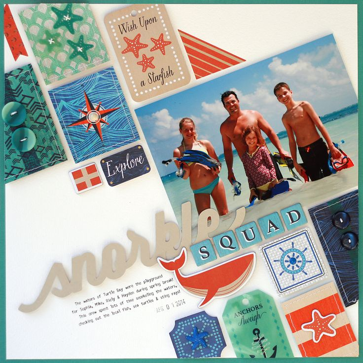 Lisa Dickinson: Snorkel Squad #layout #scrapbook #BasicGrey