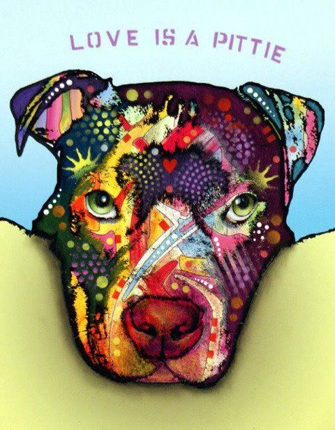 """""""Love is a Pittie"""" - Pit Bull (artwork by Dean Russo)"""