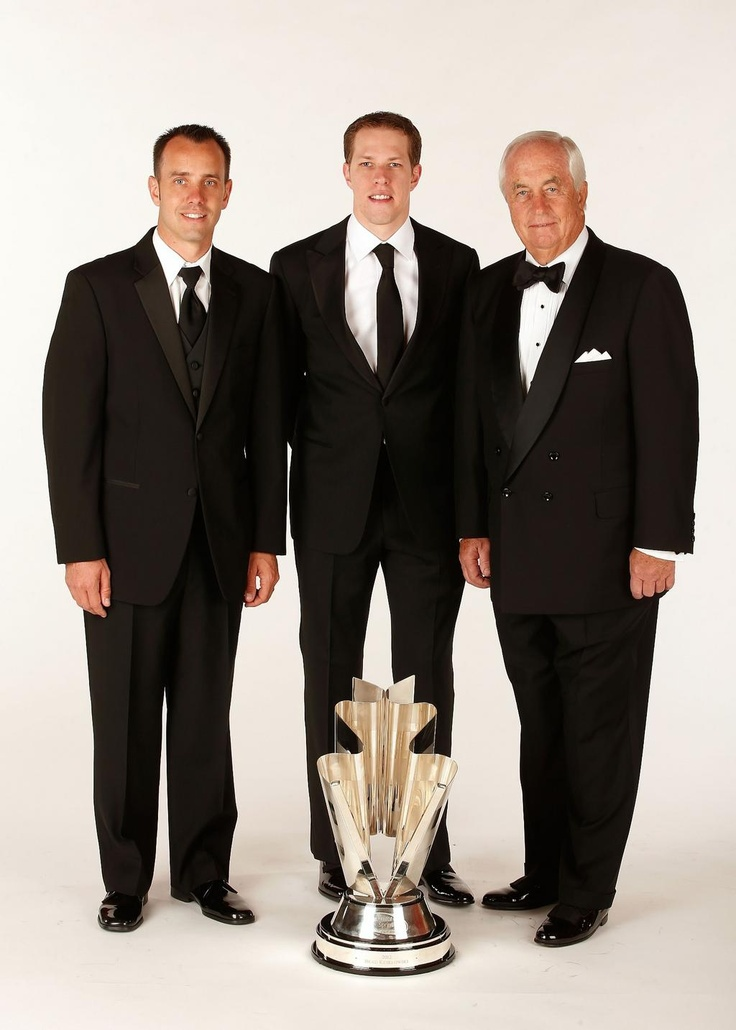 Brad K with crew chief Paul Wolfe and Car owner Roger Penske.