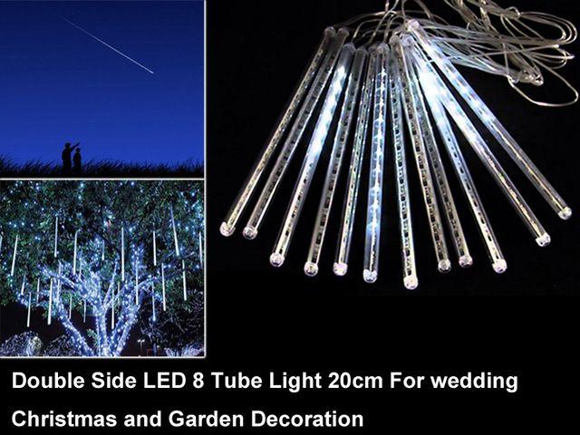 Waterproof Snow Fall LED solar meteor 8 tubes 20cm White diy casa e jardim