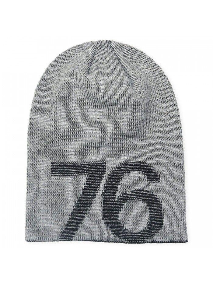 00d160c6edd Slouchy Star Long Beanie Warm Winter Ski Skull Cap Knit Hat for Men   Women  - Grey (Number 76) - CQ186HLDO9A