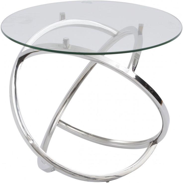 Curl Side Table Silver Table with Clear Glass Top Contemporary Stainless steel side table with An 8mm Toughened Circular Clear glass Top.