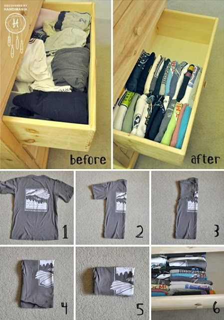 I fold our shirts like this all the time but I never thought of laying them in a drawer that way. I definitely will start doing that. That way I can see them all!