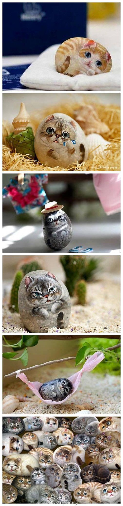 Gatos, gatos realistas de piedra de piedra artista taiwanés Li maestro Hongxiang original del arte de piedra pintada, el gesto de gato fino natural representado en piedra. Especialmente los ojos de gato, el material de pigmento hizo desarrollado específicamente. Diferente cada animal el nombre, la raza, la actitud, divertido, lindo.