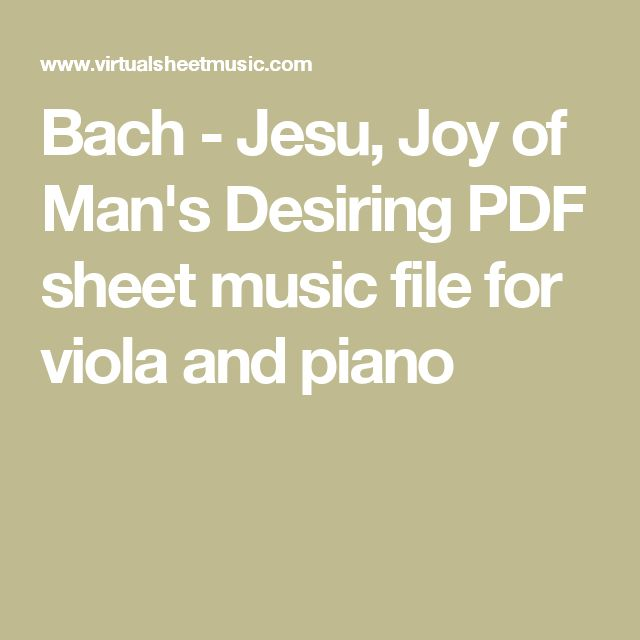Bach - Jesu, Joy of Man's Desiring PDF sheet music file for viola and piano
