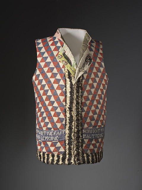 France  Man's Vest, 1789-1794  Linen canvas with silk needlepoint, linen plain weave with silk supplementary-warp cut-pile trim and silk embroidery, Center back length: 26 1/2 in. (67.31 cm)  Purchased with funds provided by Suzanne A. Saperstein and Michael and Ellen Michelson, with additional funding from the Costume Council, the Edgerton Foundation, Gail and Gerald Oppenheimer, Maureen H. Shapiro, Grace Tsao, and Lenore and Richard Wayne (M.2007.211.1078)  Costume and Textiles Department.