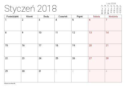 Kalendarze do wydrukowania (PDF) na rok 2018 - Kalendarz Świąt