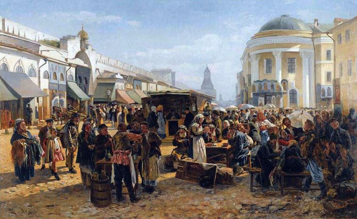 Vladimir Makovsky (1846-1920). On the flea market in Moscow. 1879
