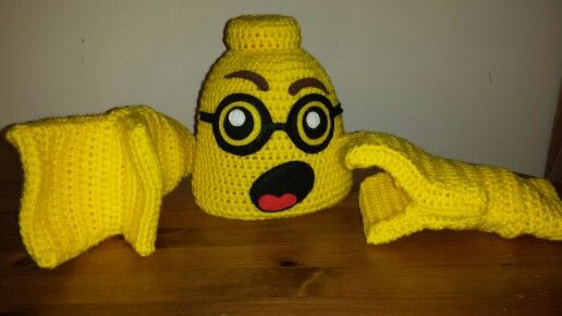 Crochet lego hat and gloves