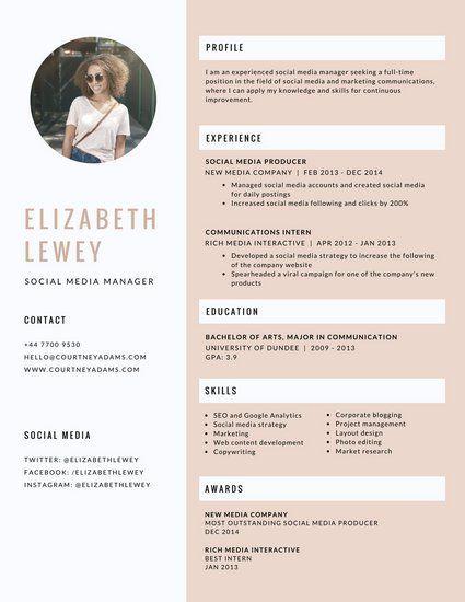 pink feminine social media manager resume