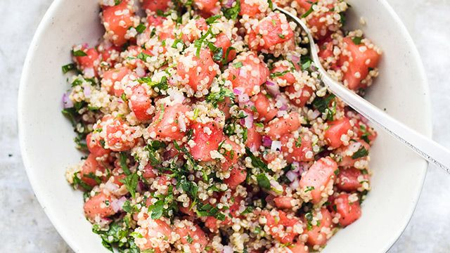 Say hello to your new favorite barbeque recipe. This light and refreshing salad looks and tastes just like summer! The protein in quinoa makes this salad a complete meal all by itself. Or, you can serve it as a side with some grilled protein.