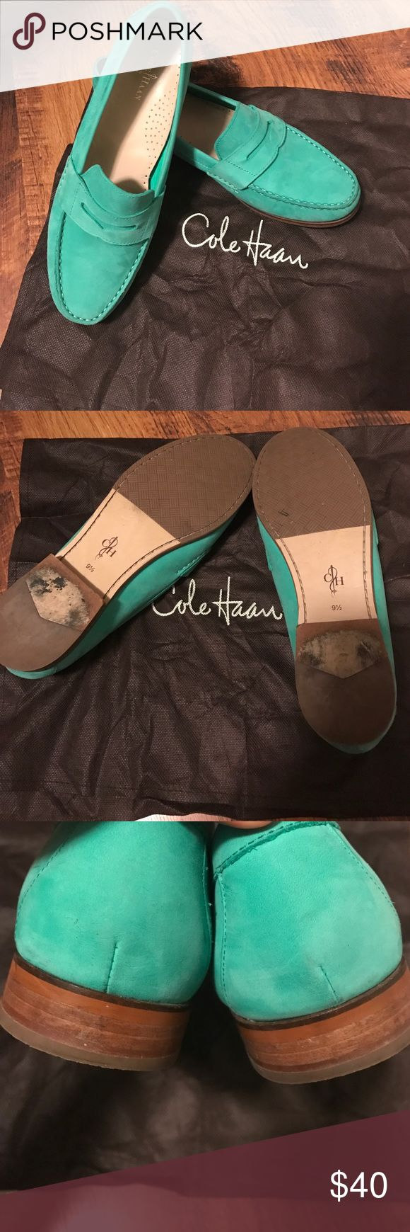Cole Haan aqua/mint green suede loafers. 9.5M Aqua minty green suede loafers. Women's size 9.5M. Like new. Only sign of any wear at all is on the bottom. See pictures. I forgot I even had these. They may have been worn once or twice. Purchased at Saks Fifth Ave. leather inside and out. Comes with original dust bag. No Box. I keep most of my shoes in their own individual clear plastic containers. Cole Haan Shoes Flats & Loafers