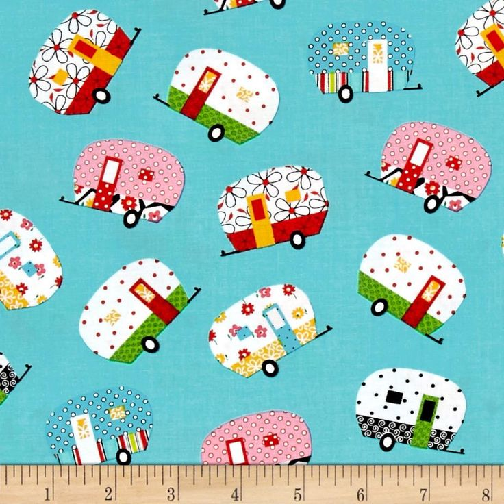 Quilt Camp Camper Allover Turquoise from @fabricdotcom  Designed by Barbara Jones of Quilt Soup for Henry Glass & Co, this cotton print collection with quilty themes is perfect for quilting, apparel, and home decor accents. Colors include aqua, white, red, pink, yellow, green, and black.