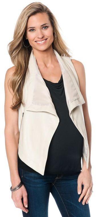 A Pea in the Pod Drew Drape Front Faux Leather Maternity Vest