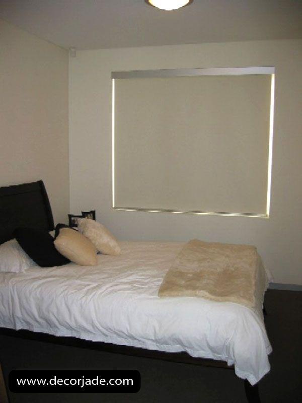 Cortinas Roller en tela black out color crema para dormitorio. Envíos a todo el Perú .