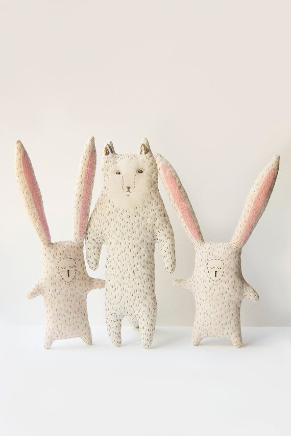 Bunny animal softie newborn soft toys stuffed by WoodlandTale