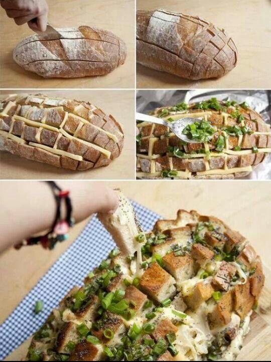Cheese bread, looks delicious!  Diy