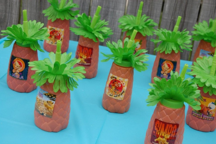 Lion King birthday party favors - cups from the dollar store filled with animal crackers