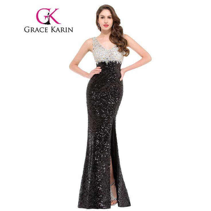 인어 이브닝 드레스 grace karin 스파클 블랙 이브닝 가운 더블 v 넥 긴 장식 조각 특별한 드레스 분할 2017