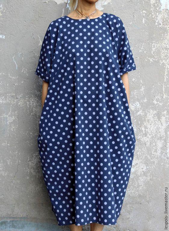 Купить Платье в горошек - синий, в горошек, хлопок 100%, Шелк 100%