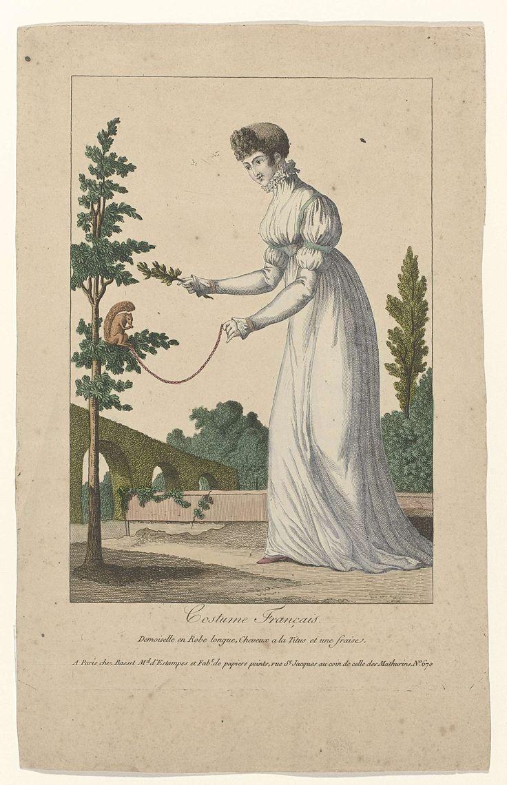 A pet red squirrel?! Costume Francais, 1795,  No.19 : Demoiselle en Robe longue..., Anonymous, Basset, c. 1795