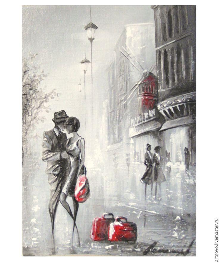 "Картина маслом на холсте ""Парижские встречи..."" Картина в раме - картина город"