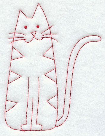 Country Kitty (Redwork)........to embroider on one of my bags?: