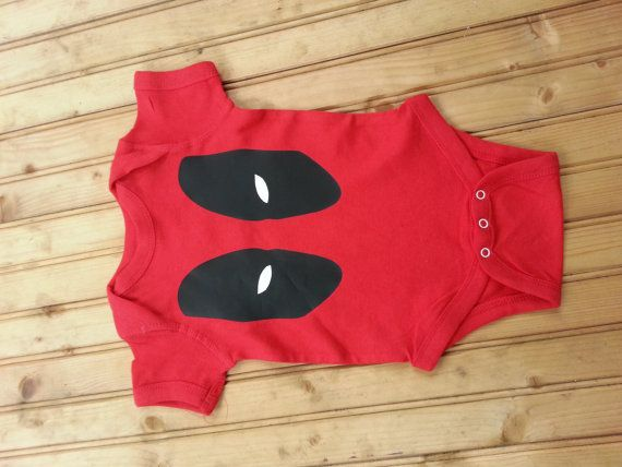 Deadpool inspired Super villain baby body suit
