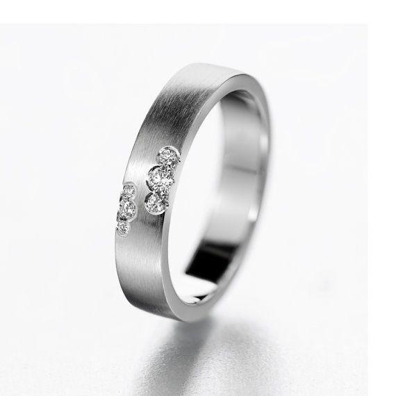 Unique wedding ring modern wedding band diamond by KorusDesign