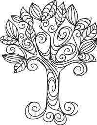 "Curvy tree with leaves - ""Doodle Tree"""