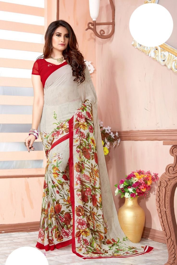 Cream Faux Georgette Saree Online Shopping-Z7257P1483-162
