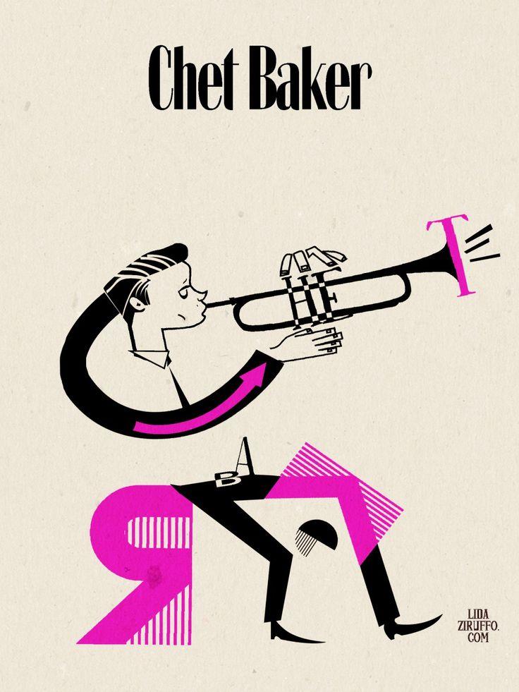 Chet Baker #chetbaker #jazz #illustration #lida #ziruffo #60sillustration