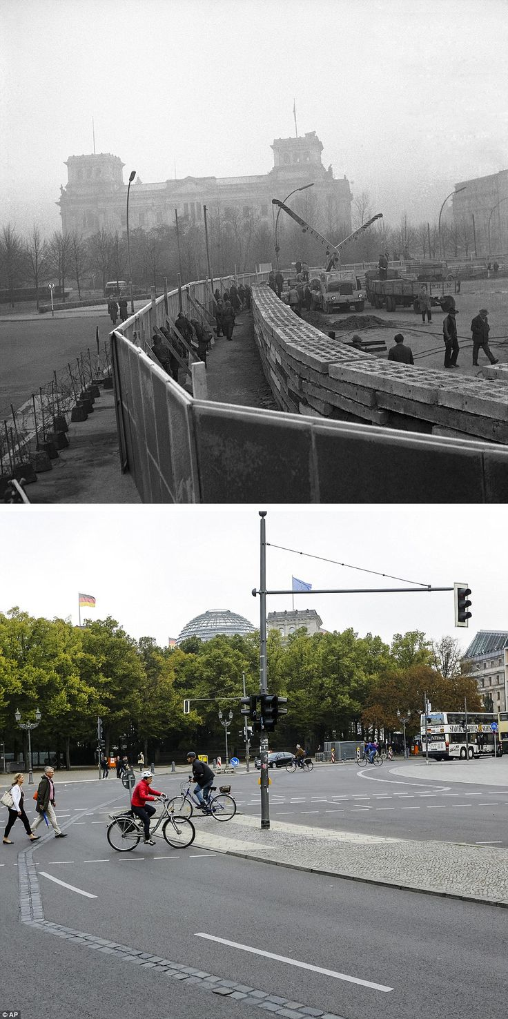 Best 25 german reunification ideas on pinterest german building work the top image shows east german workers and troops building the wall in amipublicfo Images