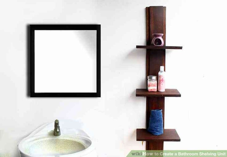 Wooden shelf for bathroom