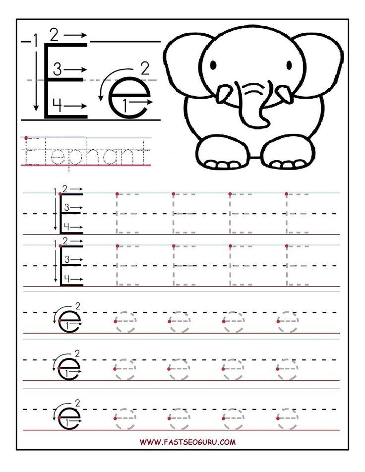 Printable letter E tracing worksheets for preschool ...