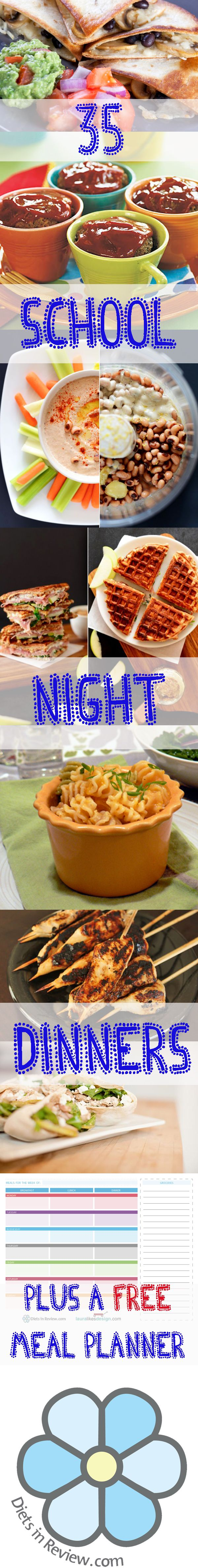 35 Healthy School Night Dinners Kids Will Actually Eat! PLUS - a free meal planner worksheet.